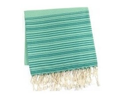"""Emerald Fouta - This generously sized fouta towel made of 100% natural cotton can be used as a cover-up, blanket, shawl or throw. Artisanal hand woven, traditionally referred to as a """"Hammam"""" towel. The more you wash it the softer and more absorbent it becomes. Measures 37"""" X 78"""". Wash cold in delicates with a low tumble dry."""