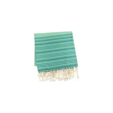 """Assorted Foutas, Emerald - This generously sized fouta towel made of 100% natural cotton can be used as a cover-up, blanket, shawl or throw. Artisanal hand woven, traditionally referred to as a """"Hammam"""" towel. The more you wash it the softer and more absorbent it becomes. Measures 37"""" X 78"""". Wash cold in delicates with a low tumble dry."""