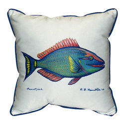 Betsy Drake - Betsy Drake Parrot Fish Pillow- Indoor/Outdoor - Parrot Pillow- Large indoor/outdoor pillow. These versatile pillows are equal at enhancing your homes seaside decor and adding coastal charm to an outdoor setting arrangment. They feature printed outdoor, fade resistant fabric for years of wear and enjoyment. Solid back, polyfill. Proudly made in the USA.