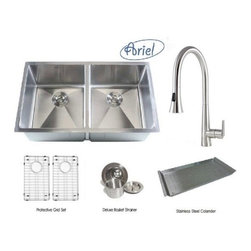 """Ariel - Ariel 32 Inch Double Bowl Kitchen Sink and a Eclipse Design Faucet Combo - Bring home the Ariel 50/50 double bowl kitchen sink to your modern kitchen. Combo includes matching Protective Bottom Grid Set, Stainless Steel Colander, Deluxe Lift-out Basket Strainer & a Eclipse Design Stainless Steel Kitchen Faucet. Sink Dimensions 32"""" x 19"""" x 10""""."""