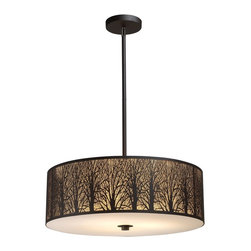 "Elk Lighting - Elk Lighting 31075/5 Woodland Sunrise Contemporary Pendant Light - Etched into stainless steel, a serene tree-lined meadow is revealed with intricate branch detailing. An Aged finish with an amber diffuser maximizes the realism of the setting.(1) 6"" & (2) 12"" extension rods w/ hang straight included."