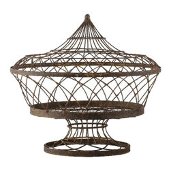 Aidan Gray - Aidan Gray Large Oval Basket with Lid Set of 2 G54 - A large oval basket on a pedestal with a lid will accent the inside or outside of your home.