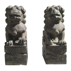 Golden Lotus - Pair Chinese Hand Carved Solid Stone Feng Shui Foo Dogs - You are looking at a pair of unique traditional Chinese Feng Shui Foo Dogs. They are made of solid stone and hand carved by master mason. The carving is very precise and detailed.