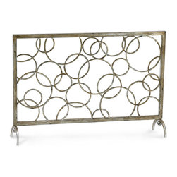 Circle Fire Screen - Open rings of uneven size crowd the surface of the Circle Fire Screen, a transitional silver-leaf panel perfect for placement in front of a clean-lined hearth. Suitable for gas fireplaces or for decorative use, this artful piece employs a clever combination of negative space, its circles fusing into an active yet balanced openwork that brings pure complexity to your look.