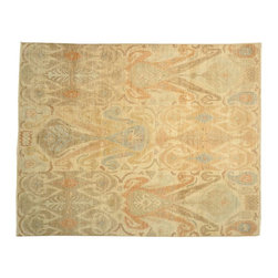 1800-Get-A-Rug - Oriental Rug Ikat Tribal Design Hand Knotted Rug Sh13329 - About Wool Pile