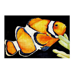 DiaNoche Designs - Area Rug by Marley Ungaro - Deep Sea Life- Clown Fish - Finish off your bedroom or living space with a woven Area Rug with Chevron pattern  from DiaNoche Designs. The last true accent in your home decor that really ties the room together. Maybe its a subtle rug for your entry way, or a conversation piece in your living area, your floor art will continue to dazzle for many years. 1/4 thick. Each rug is machine loomed, washed and pre-shrunk, printed, then hemmed on the edges.   Spot treat with warm water or professionally clean. Dye Sublimation printing adheres the ink to the material for long life and durability