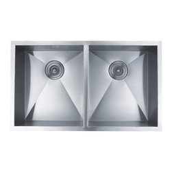 BOANN - BOANN UM3219D Hand Made Zero Radius 50/50 Double Bowl 32 x 19 Inch Undermount - The BOANN Hand Made Zero Radius UM3219D stainless steel sink is an excellent upgrade/addition to any home. Made from premium grade t304 stainless steel, this sink will not oxidize or rust. This sinks basin ratio is 50/50 in size. Using t304 grade material is more expensive than other grades because it is a higher quality of stainless steel, which is also why it is more durable. This premium grade of stainless steel is generally used in equipment that requires more strength and durability like in cars and machines. T304 stainless steel material is 100% lead free. Tank Depth: 10 Inches. Sink includes colander/strainer, plug and grids.