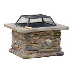 Great Deal Furniture - Tundra Outdoor Fire Pit - Add light and warmth to your poolside, yard, or patio with this elegantly designed Tundra fire pit. The elegance of matte steel makes a perfect background for the timeless, hypnotic beauty of flickering flames, and engineered stone base adds an extra charm to this true piece of art.
