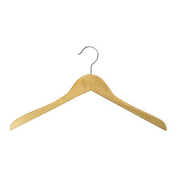 Proman - Gemini-concave Coat Hanger, Natural Lacquer - Gemini-concave coat hanger,natural lacquer, chrome hardware, 50 pcs/ctn. Concave coat hanger. Chrome hardware.