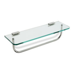 "StilHaus - Clear Glass Bathroom Shelf with Towel Bar - 16"" clear glass shelf with brass towel bar."