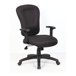 Boss Chairs - Boss Chairs Boss Black Task Chair with B909J Arm - Upholstered in black Crepe fabric. Memory foam seat. Ratchet back height adjustment. Spring tilt mechanism. Adjustable tilt tension control. Pneumatic gas list seat height adjustment. Hooded double wheel casters. Adjustable arms.