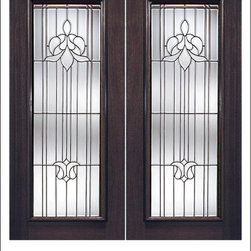 Exterior and Interior Beveled Glass Doors Model # 850 - Our Beveled Glass Doors are made of individually hand cut glass put together with metal caming.  Doors triple glazed (three pieces of glass) for insulation and they are easy to clean with a smooth surface.  Doors are available in a variety of sizes and styles. The door is constructed from FSC Brazilian Mahogany.  Interior versions of these doors are available in our Decorative Glass Doors under the interior doors category.