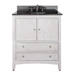 Avanity - Westwood 30in. Vanity - White Washed - The Westwood 30 in. vanity exudes the modern aesthetic of simplicity and is an expression of modern transitional lifestyle. It is constructed of solid chinese oak wood in a white washed finish and includes all soft-close hardware.