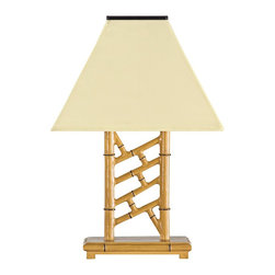 """Lamps Plus - Asian Chelsea Bamboo Indoor/Outdoor Solar Table Lamp - This inviting solar table lamp features a latticework with a bamboo finish constructed of aluminum and topped with a weather-resistant Sunbrella vellum canvas shade. Place lamp in the sun for an automatic charge via the laminated solar panel then use anywhere inside or outdoors. High-output LEDs turn on at night and off at daylight thanks to a built-in photosensor and are powered by 3 rechargeable batteries. Choose from 3 lighting levels; low will last for 8 hours per charge medium 6 hours and high for 4 hours. This energy-saving lighting accent is made in the U.S.A. Includes 4 high-output LEDs and 3 rechargeable 1500 MaH AA NI-MH batteries. 5.5 V300mA polycrystalline laminated solar panel included. Made in the USA.  Solar-power outdoor table lamp.  Aluminum construction.  Bamboo finish.  Vellum Sunbrella canvas shade.  Solar powered no cord can be used inside or outdoors.  Charges automatically in sunlight.  Photosensor turns light on at night off at daylight.  3 light levels: low lasts 8 hours per charge medium 6 hours and high 4 hours.  Includes 4 high-output LEDs and 3 rechargeable 1500 MaH AA NI-MH batteries.  5.5 V300mA polycrystalline laminated solar panel included.  Made in the USA.  28"""" high.  Shade is 19"""" wide 13"""" deep."""