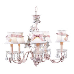 Crystal Flower Chandelier with Plain White Shades tied with Pink Sashes - This pretty crystal flower chandelier features plain white shades tied with pink sashes.