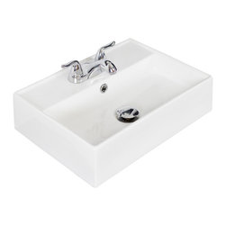American Imaginations - 20-in. W x 14-in. D Wall Mount Rectangle Vessel - It features a rectangle shape. This vessel is designed to be installed as an wall mount vessel. It is constructed with ceramic. It is designed for a 4-in. o.c. faucet. The top features a 5-in. profile thickness. This vessel comes with a enamel glaze finish in White color. Simple and clean wall mount rectangular white ceramic vessel This Vessel features Antique Brass hardware. Double fired and glazed for durability and stain resistance. Quality control approved in Canada and re-inspected prior to shipping your order. Faucet and accessories not included.