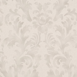 Romosa Wallcoverings - Gray / Dark Gray Faux Worn Damask Star Fade Wallpaper - - Color: Gray / Dark Gray