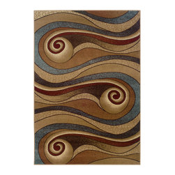 None - Gold and Brown Swirls Accent Rug (2'2 x 3'3) - Lay down this small accent rug in any room to add warmth, to add subtle pizazz, or to update your furnishings. The rug will protect your flooring, and the earthy colors and fluid design will make it a focal point full of movement and modernity.
