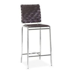ZUO MODERN - Criss Cross Counter Chair Espresso (set of 2) - With three height choices, the Criss Cross works in any dcor setting, modern or transitional. It has leatherette back straps and a flat seat with a chrome steel tube frame.