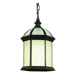 Joshua Marshal - One Light Rust Frosted Beveled Glass Hanging Lantern - One Light Rust Frosted Beveled Glass Hanging Lantern