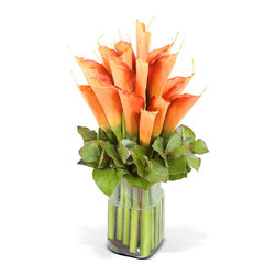 New Growth Designs - Calla Lily Arrangement - Create a dramatic look in your entryway, office or dining room with this bouquet of vibrant tangerine faux Calla Lilies. Arranged with realistic-looking Galax leaves in a sleek glass column vase with clear acrylic solution.