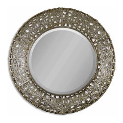 Uttermost - Alita Champagne with Black Round Mirror - This mirror features a frame made of strips of hand forged metal finished in champagne with black dry brushing and antique stain.