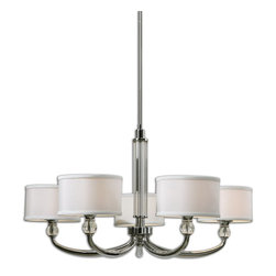 Carolyn Kinder - Carolyn Kinder UM-21260 Vanalen 5 Light Chrome Chandelier - The Clean Lines And Cultured Refinement Of Plated Polished Chrome Show In This Soft Contemporary Look. Crystal Ball Accents And A Tasteful Glass Center Column Help Show Off Unique Oval Arms With Round Hardback White Silk Look Fabric Shades. Transitional Enough For Many Of Today's Interior Styles.