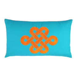 NECTARmodern - Fortune Knot Chinoserie Throw Pillow, Teal - Add a touch of chinoiserie to your home with our lucky knot pillow in a modern colorway. Teal with orange embroidery. Solid teal back. Also available in green and Brown colorways. Designer quality cover with overstuffed feather/down insert.