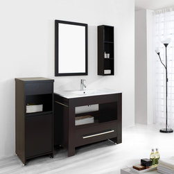 "Virtu USA - Virtu USA ES-2440 Masselin 40"" Single Bathroom Vanity - The Masselin is a straight forward design for both functionality and easy cleaning. This is a perfect all-in-one vanity with an integrated basin, towel rack, shelf and storage drawer. Constructed with solid wood laminate and quality veneers, this vanity will bring value and style to any bathroom."