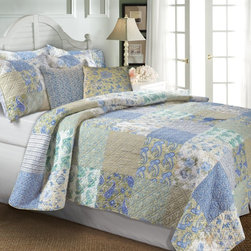 Greenland Home Fashions - Greenland Home Fashions Vintage Jade Bonus Quilt Set - GL-1003PBST - Shop for Bedding Sets from Hayneedle.com! A rich patchwork of vintage styles makes the Greenland Home Fashions Vintage Jade Bonus Quilt Set a colorful tranquil way to complete a bedroom. This set includes a quilt coordinating pillows and a sham or two depending on the size you choose. The thick quilt features a cotton face cotton fill and double-diamond stitching for durability and added texture. The front features a patchwork pattern of classic motifs while the reverse sports an all-over stripe. The accent pillows have polyester inserts within removable cotton covers and the quilt is oversized to provide better coverage on today's deeper mattresses.Product Dimensions:Twin comforter: 88L x 68W in. Full/queen comforter: 90L x 90W in.King comforter: 95L x 105W in.Small sham: 20L x 26W in.Large sham: 20L x 36W in.Decorative pillow: 18W x 18L in.About Greenland Home FashionsFor the past 16 years Greenland Home Fashions has been perfecting its own approach to textile fashions. Through constant developments and updates - in traditional country and more modern styles the company has become a leading supplier and designer of decorative bedding to retailers nationwide. If you're looking for high-quality bedding that not only looks great but is crafted to last consider Greenland.