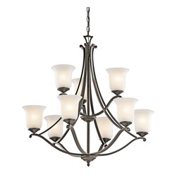 Kichler Lighting - Kichler Lighting Wellington Square Transitional Chandelier X-ZO20434 - Illuminate your room with this gorgeous chandelier in a lush olde bronze finish. The Kichler Lighting Wellington Square Transitional chandelier displays a casual look with elegant style. The steel frame is crafted in an amazing steelwork that provides ageless quality. The sating etched glass shades provide superior and warm lighting.