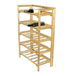 """Bamboo54 - Bamboo Wine Rack - This unique bamboo wine racks is an innovative designed rack that allows your spirits to lie down horizontally. Minimalistic approach reflect a rack with no wasted line or materials. Measures 1.7"""" W x 11.5"""" D x 38.5"""" H. Some assembly required."""