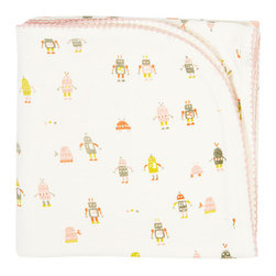 Auggie Home Collection - Robot March Baby Blanket, Pink - Tiny robots march across this super soft reversible blanket. Colorful robots adorn one side; our soft pink fringe print the other making this baby blanket a cosy match to our new Infant Sleep Sets and Pajamas.