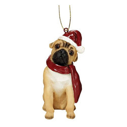 "EttansPalace - Pug Holiday Dog Ornament Sculpture - With a festive Santa hat and red scarf, this adorable Pug dog ornament has neither a ""bark"" nor a ""bite"" worth worrying over! Our Pug dog ornament is realistically sculpted, cast in quality designer resin and hand painted for the ""discriminating dog lover"". The perfect canine gift for Pug dog aficionados and a fun way to include your pets in holiday decorating! Approx. 2.5""W x 1.5""D x 3.5""H. .5 lb."