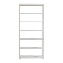 Stanley Furniture - Charleston Regency Broad Street Bookcase - Ropemaker's White Finish - Named after the street where Charleston�۪s famous law firms reside, the Broad Street Bookcase has one removable shelf and five fixed shelves. The design�۪s carved rosettes impart a sense of gentility and distinction to its statuesque form. Made to order in America.