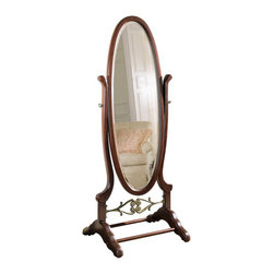 Powell Furniture - Powell Furniture Heirloom Cherry Cheval Floor Mirror - Powell Furniture - Mirrors - 998773 - This traditional mirror is a stylish reproduction of cheval mirrors found in homes before the turn of the century, and it will be an equally stylish addition to your private space. The cherry cheval is accented with a regally-appointed antique brass plated casted cross brace for decoration and structure. Ornamentally detailed posts and a large oval mirror that features a tilt function for varying angles of reflection combine with a rich cherry finish to ensure years of charm.