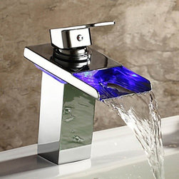 Bathroom Sink Faucets - Single Handle Waterfall Bathroom Faucet with LED Light--faucetsmall.com