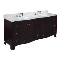 Kitchen Bath Collection - Palazzo 72-in Bath Vanity (White/Espresso) - This bathroom vanity set by Kitchen Bath Collection includes an espresso cabinet with soft close drawers and self-closing door hinges, white marble countertop with stunning beveled edges, double undermount ceramic sinks, pop-up drains, and P-traps. Order now and we will include the pictured three-hole faucets and a matching backsplash as a free gift! All vanities come fully assembled by the manufacturer, with countertop & sink pre-installed.