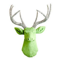 White Faux Taxidermy - Loris Apple-Green Faux Resin Deer Head With Silver Glitter Antlers - Measurements: