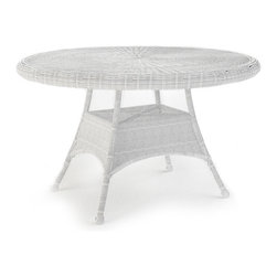 "Forever Patio - Rockport 48 in. Round Patio Dining Table, White Wicker - The Rockport 48"" Round Dining Table (SKU FP-ROC-48DT-WH) will add beauty and charm to any outdoor dining experience. Its UV-protected White wicker and round-weave design creates a cheery, traditional look that is made to last. The top of the table has an umbrella hole for the option to add your own shade to your dining experience. This table also includes a tempered glass top, providing a beautiful and durable surface that is easy to maintain."