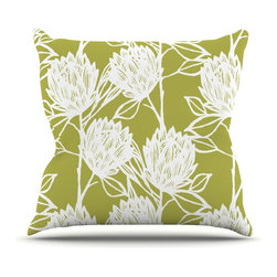 """Kess InHouse - Gill Eggleston """"Protea Olive White"""" Green Flowers Throw Pillow (Outdoor, 26"""" x 2 - Decorate your backyard, patio or even take it on a picnic with the Kess Inhouse outdoor throw pillow! Complete your backyard by adding unique artwork, patterns, illustrations and colors! Be the envy of your neighbors and friends with this long lasting outdoor artistic and innovative pillow. These pillows are printed on both sides for added pizzazz!"""