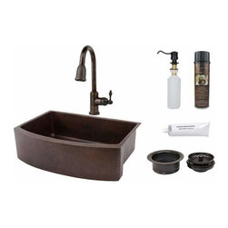"Premier-Copper-Products - 33"" Copper Rounded Apron Sink w/ORB Faucet - KSP2_KASRDB33249 Premier Copper Products 33 Inch Hammered Copper Kitchen Rounded Apron Single Basin Sink with ORB Pull Down Faucet, Matching Drain, and Accessories."