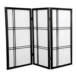 Oriental Furniture - 3 ft. Tall Double Cross Shoji Screen - Black - 3 Panels - This three foot tall folding screen adapts a traditional Japanese design for the modern home. Shoji rice paper, valued for its beauty and lightweight design, has been used in Japan for over a thousand years to divide space and provide privacy without blocking off light. This room divider elegantly complements any style of interior decor and is a great way to partition a room, hide the space beneath a table or desk, or add cosmopolitan flair to the home or office.