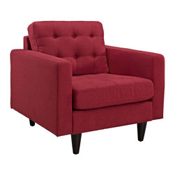 Modway - Modway EEI-1013 Empress Armchair in Red - End the rule of unjust sovereignties that wage a useless war for your interiors. Empress leaves the would be heiress of holistic furnishings in the dust, with a design that rivals any competitor. Empress is heralded with deeply tufted buttons, plush cushions and armrests that convey that perfect air of nobility. The solid wood legs come with plastic glides to prevent floor scratching, and the fine fabric upholstery leaves the recipients feeling richly rewarded.