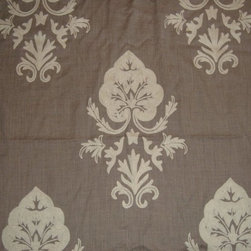 Crewel Fabric World by MDS - Crewel Fabric Konark White on Dark Melange Wool- Yardage - Fabric Type: Wool