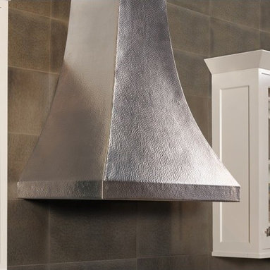 """Chalet in Brushed Nickel - Chalet's gentle curves turn a kitchen range hood into an elegant silhouette. Wrought from recycled 16 gauge copper, this professional grade range hood exemplifies getting away from it all through centuries-old artisan tradition. Available in Antique or Brushed Nickel finish. Width 36"""" Height 41"""" Depth 24"""" Finish Brushed Nickel"""