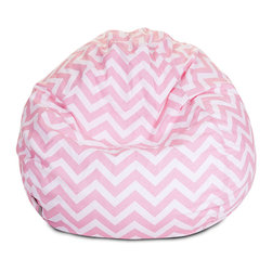 Majestic Home - Indoor Baby Pink Chevron Small Bean Bag - Beanbag update alert! The staple of the hippie pad gets a stylish new look, ideal for your favorite casual setting. It's bound to become the best seat in the house, but no worries —the slip zips off for easy machine washing.