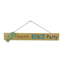 Handcrafted Nautical Decor - Wooden Sunset Beach Party Sign 24'' - Our   Wooden Sunset Beach Party Sign 24'' is the perfect choice to display   your affinity for decorating a beach house. Whether placing this sign in a beach   kitchen, using it as a coastal decorating idea, or hanging it up as part of   your beach bedroom decor, one thing is for   certain: you are sure to inject the beach lifestyle into your humble   abode.------    Easily mountable to hang outside or inside--    Solid wooden plank--    Handcrafted and highly detailed--