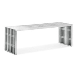 Zuo - Slatted Steel Double Bench - The Slatted Steel Double Bench, made from 100% stainless steel, is strong and sturdy.  Put this durable piece of furniture in any space and instantly transform it from boring to bold.  This Slatted Steel Double Bench makes a statement in dining rooms, kitchens, bedrooms, entry halls, and the home office.  Pair with the Slatted Steel Single Bench with any of our modern dining tables.  Use it as a narrow coffee table or ottoman.  The Slatted Steel collection also features a console table, long coffee table, square coffee table, and dining table.
