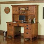 Arts and Crafts Cottage Oak Pedestal Desk and Hutch Set -